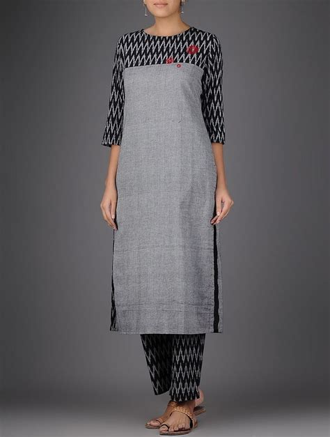 design pattern kurti buy grey black ikat hand embroidered handloom cotton kurta