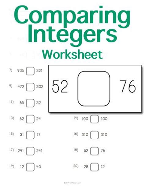 customizable and printable comparing integers worksheet
