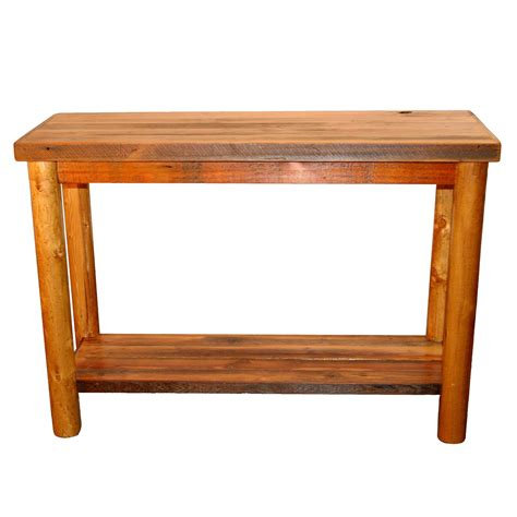 couch table barnwood sofa table with shelf