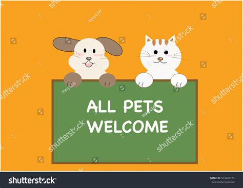 all pets welcome vector sign 523402774