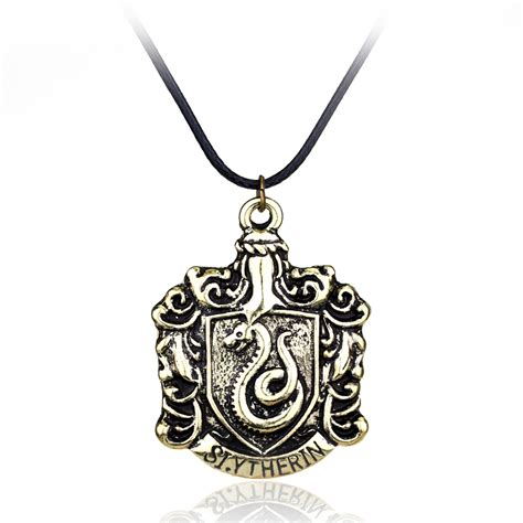 high quality jewelry h p hogwarts slytherin school badge leather jewelry