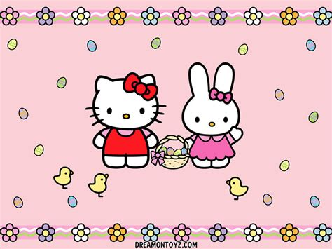 free hello kitty easter wallpaper free cartoon graphics pics gifs photographs hello