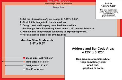 Jumbo Postcard Template Postcard Specifications Postcard Postal Regulations Expresscopy Com