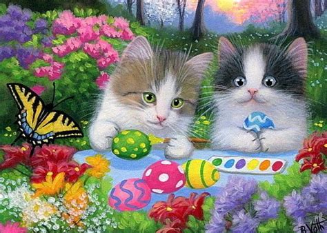 Mini Ransel Cat Anf Butterfly Lucu kittens cat painting easter eggs butterfly flowers original aceo painting cats