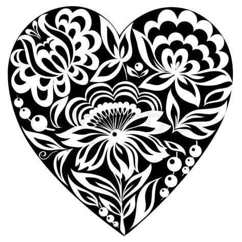 silhouette of the heart and flowers on it black and white