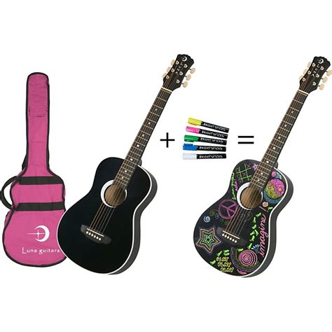 luna serial luna guitars aurora series imagine mini acoustic guitar