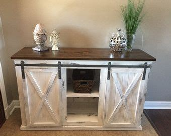 rustic sliding barn door console buffet