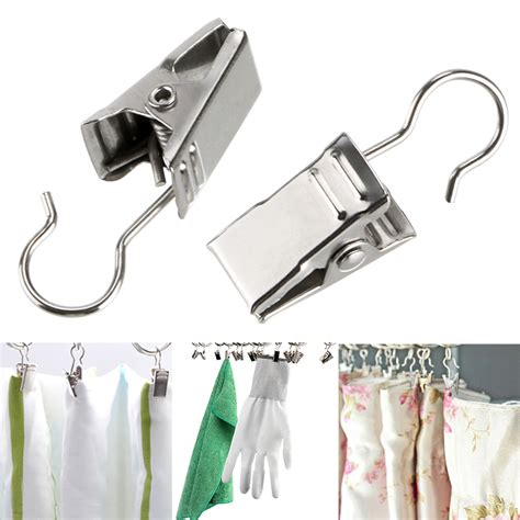 shower curtain hooks with clips 20 pcs stainless steel window shower curtain rod clips
