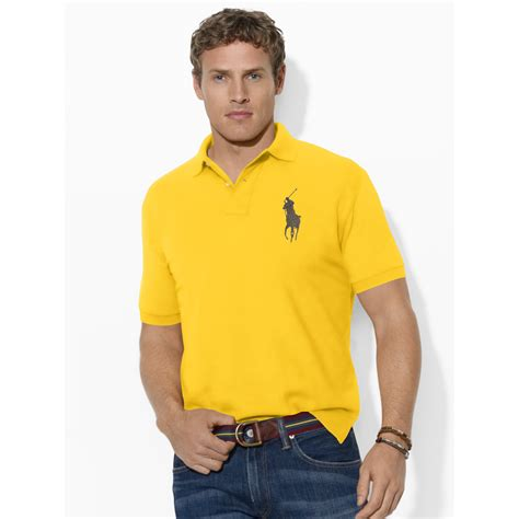 ralph classic fit big pony polo in yellow for lyst