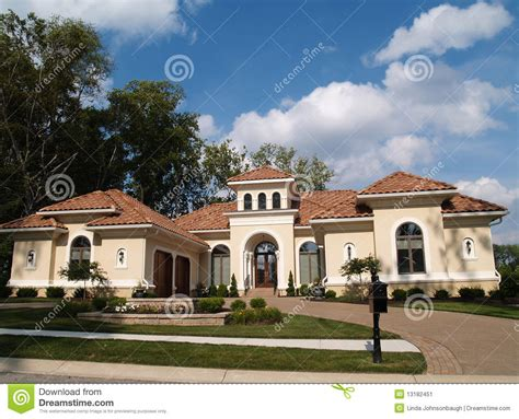 single story homes on tile one story stucco residential home with clay tile r stock image image 13182451