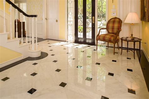 Entrance Foyer Floor Design Plaid Chair With Yellow Wall Color And Marble Tile