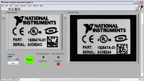 pattern matching ni vision assistant golden template inspection exle national instruments