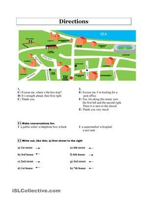 directions exercises printable giving directions english worksheets pinterest