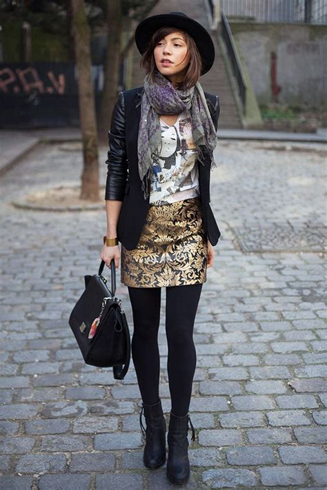 patterned tights boots pattern mixing gold brocade patterned skirt black tights