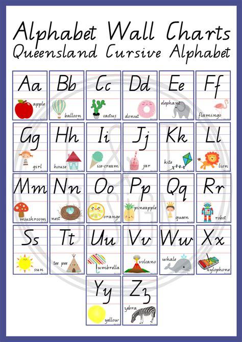 cursive letters chart alphabet wall charts qld cursive alphabet