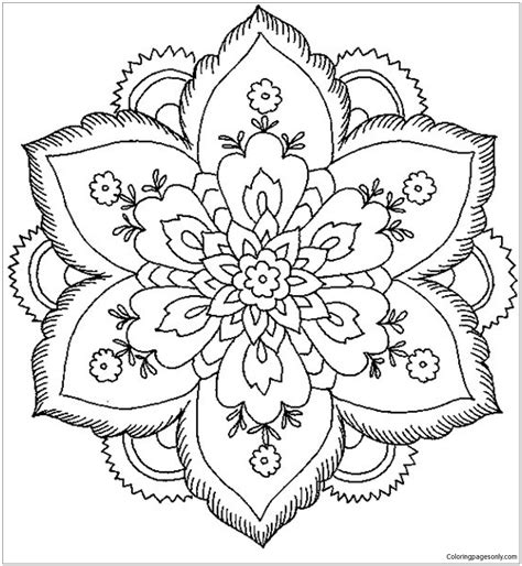 flower to color flower mandala coloring page free coloring pages