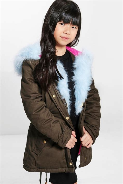 Parka Baby Blue baby blue fur hooded parka at boohoo