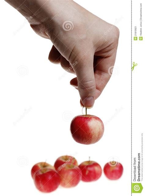 Tiny Petite | holding a small red apple stock image image 21810921