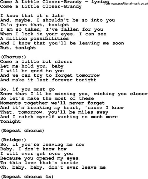 download mp3 brandy come a little closer love song lyrics for come a little closer brandy