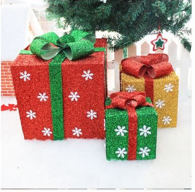 pvc glitter gift box shape merry christmas tree ornaments home holiday party decorations