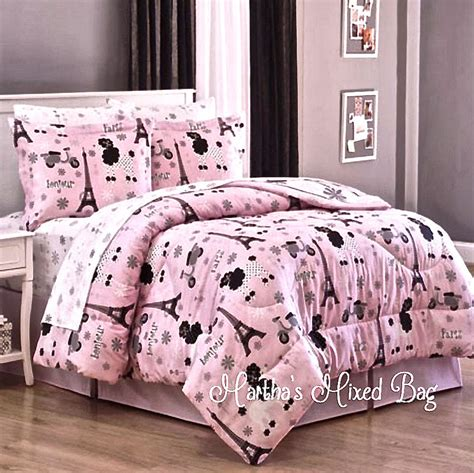 eiffel tower bedding set paris chic eiffel tower french poodle teen girls pink