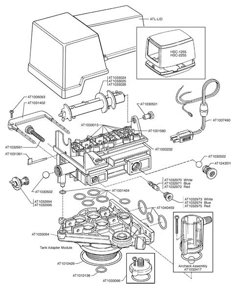 water softener parts diagram autotrol 155 valve assembly
