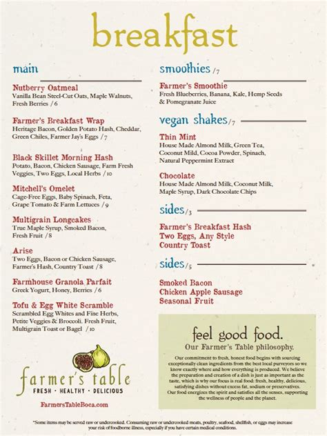 Table Menu Prices by Menu For Farmer S Table 1901 Trail