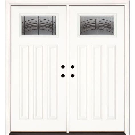 Home Depot Exterior Doors Fiberglass 66 In X 81 625 In Rochester Patina Craftsman Unfinished Smooth Fiberglass Prehung Front