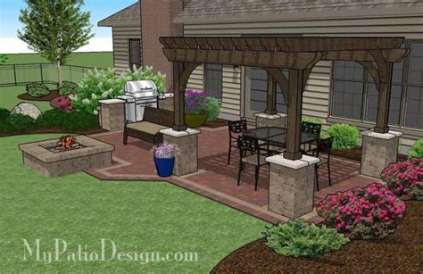 design my patio traditional brick patio design with pergola and fire pit