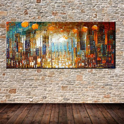 home decor canvas painting abstract city street landscape hand painted palette knife abstract city oil painting on