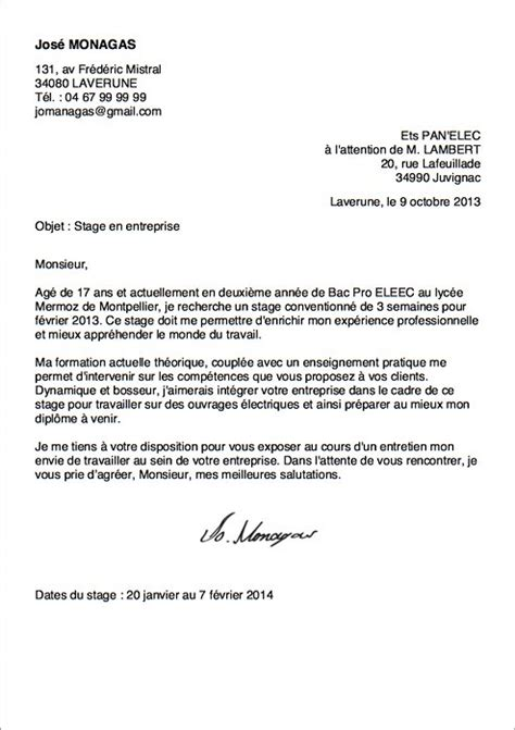 Exemple De Lettre De Motivation Pour Un Stage Bts Electrotechnique Exemple De Lettre De Motivation Pour Un Stage