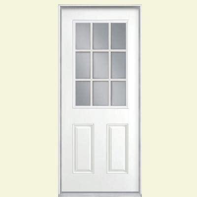 Masonite 32 In X 80 In 9 Lite Painted Smooth Fiberglass 32 Inch Fiberglass Exterior Door