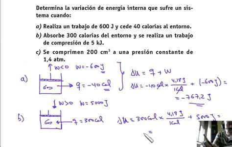energia interna di un gas 23 termoqu 237 mica c 225 lculo de variaci 243 n de energ 237 a interna