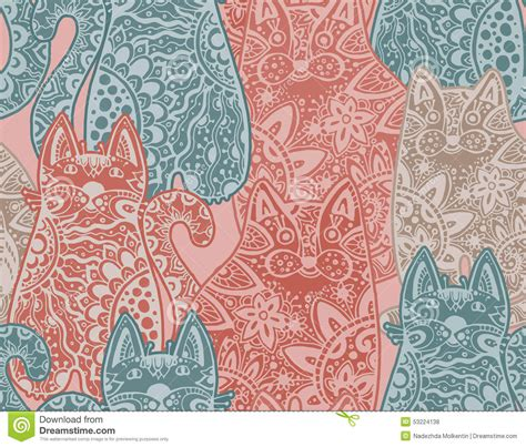 seamless pattern cats funny cats seamless pattern vector vector illustration