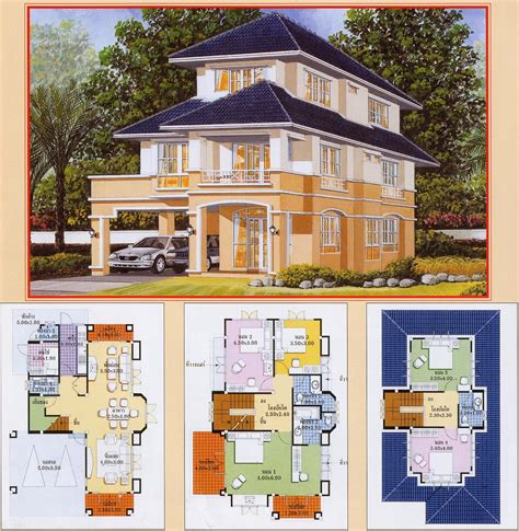 architecture khmer thai villa house plan