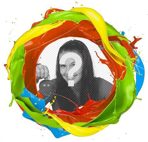 aggiungere cornice foto cornice di un cerchio di colori della vernice dove puoi