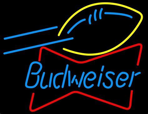 me100 budweiser football bowtie beer bar neon light sign
