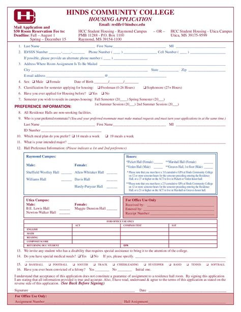 Apply Housing by Hinds Community College Application For Housing By