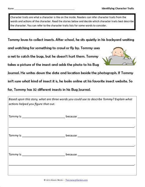 Identifying Character Traits Worksheet Free identifying character traits worksheet bluegreenish