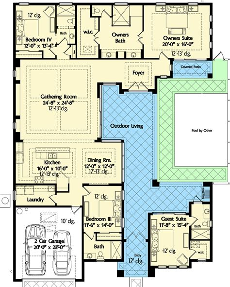 florida house plans with courtyard pool plan 42834mj florida house plan with wonderful casita