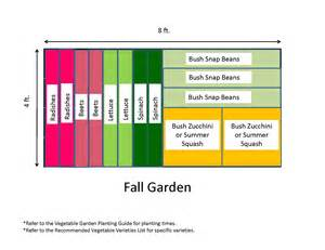 Small Raised Vegetable Garden Layout - 4x8 fall backyard vegetable garden layout plans with radishes beets lettuce spinach bush snap