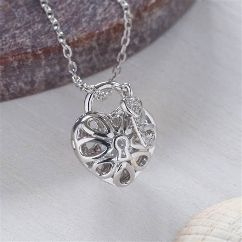 Silver Locket Key Necklace silver and key necklace with swarovski crystals by