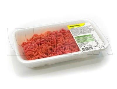 polistirolo alimentare mince packaging in polystyrene tray and pvc
