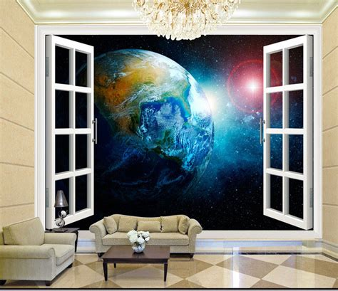 space bedroom wallpaper aliexpress com buy 3d stereo window planet earth