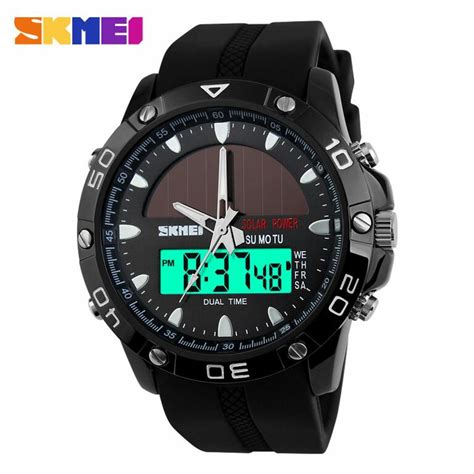 Jam Dual Time jual jam tangan pria skmei dual time solar power original