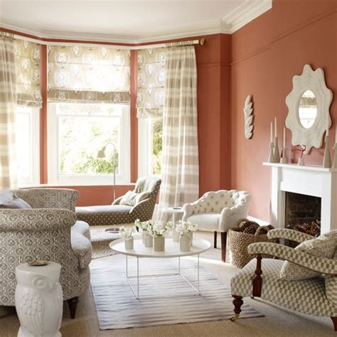 terracotta walls living room terracotta living room with patterned fabric living room decorating ideas housetohome co uk