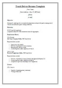 Resume Template For Truck Driving by Resume Templates Free Word S Templates