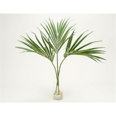 Artificial Flower Arrangement In Vase Kentia Palm Fronds With Sand And Shells Clear Cylinder