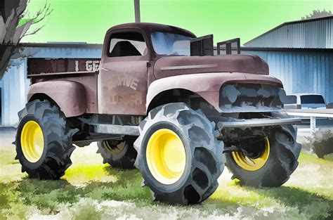 large grave digger truck truck grave digger 3 painting by lanjee chee