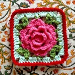 Rose granny square free crochet pattern via baby love brand